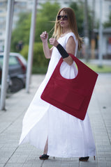Asymmetrical Dark Red Leather Tote Bag