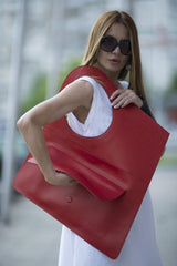 Asymmetrical Dark Red Leather Tote Bag, Bags & Accessories