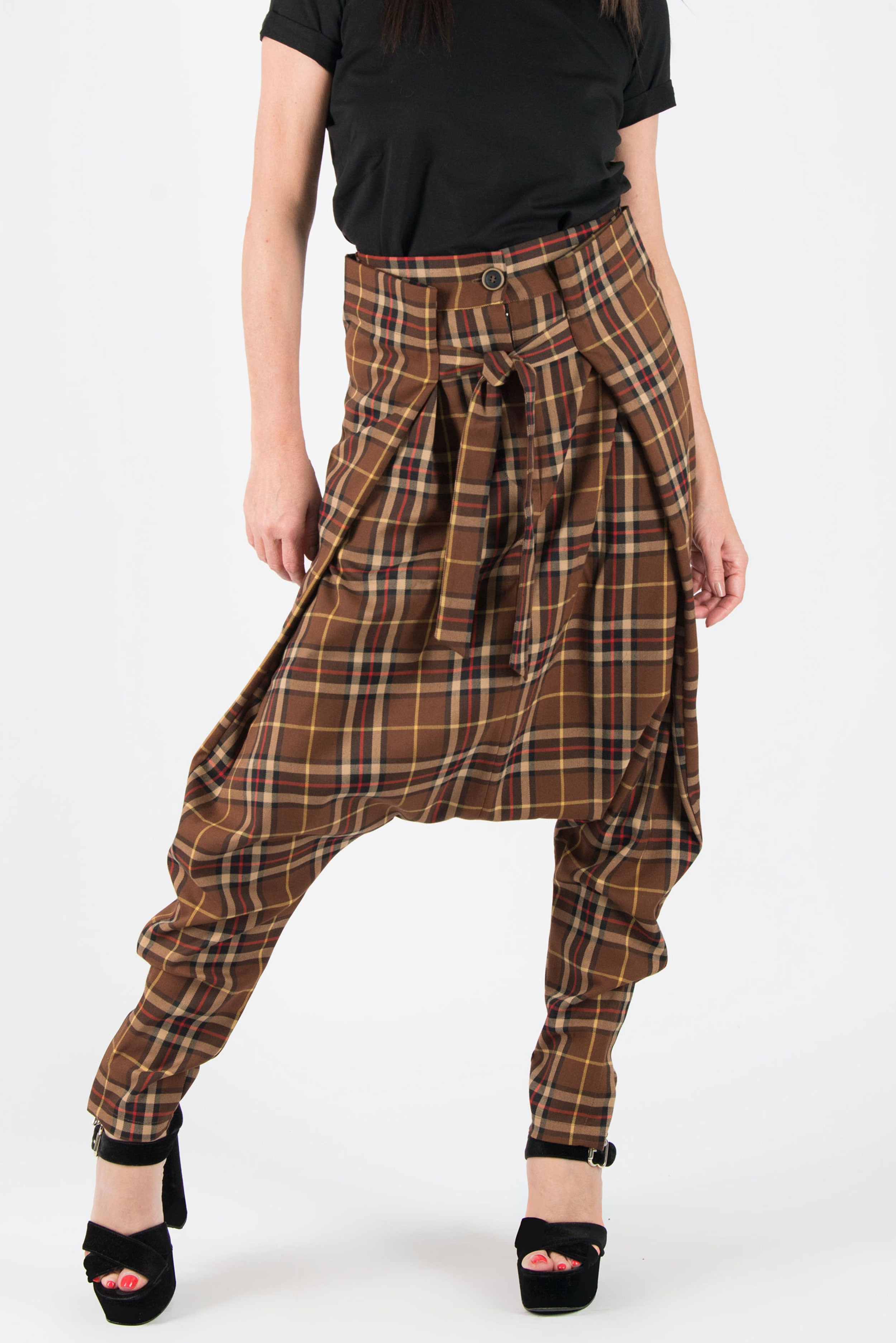 Brown Red Check Drop Crotch Pants - EUG FASHION