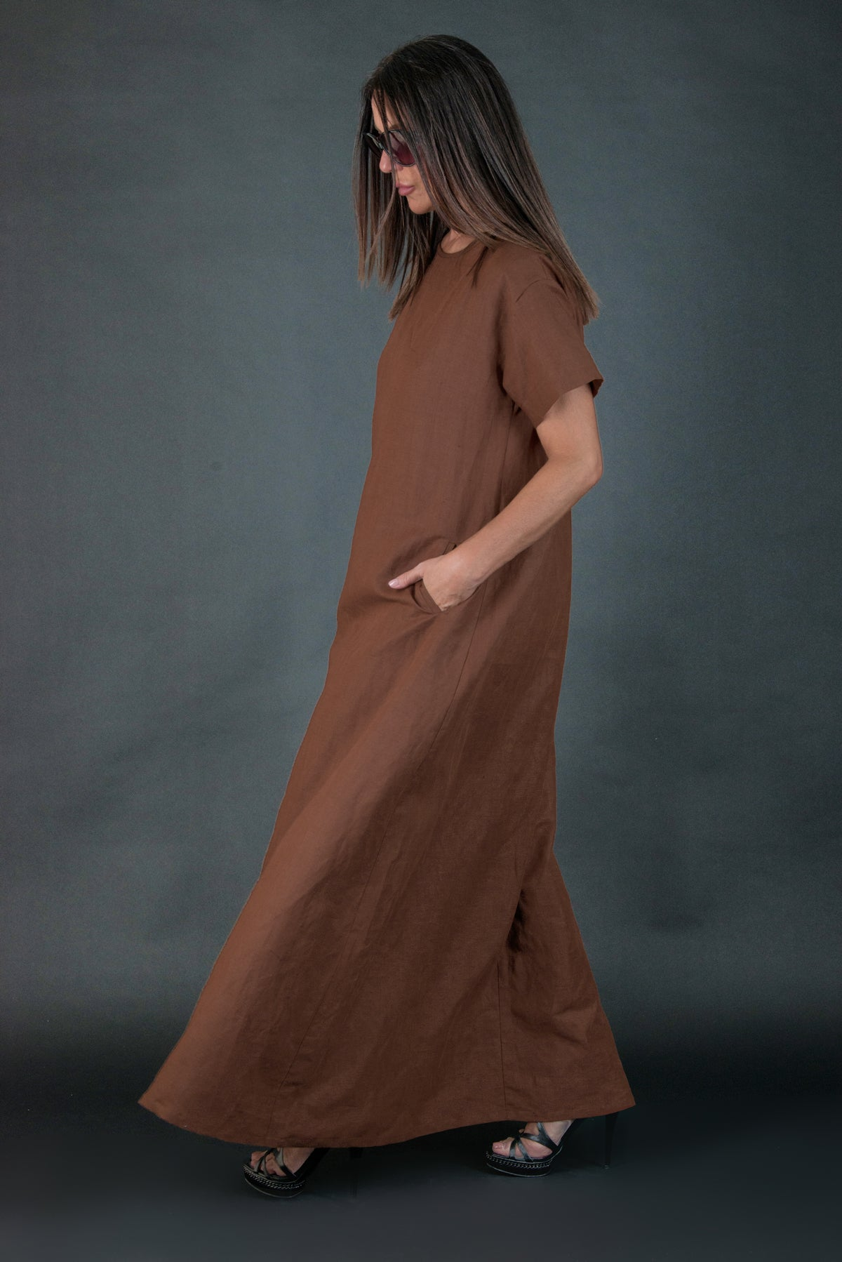 Brown Long Linen summer Dress, Linen Clothing