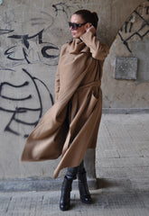 Autumn Winter Wool Asymmetric Coat