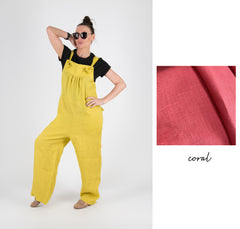 Mustard Linen Wide Plus Size Jumpsuit