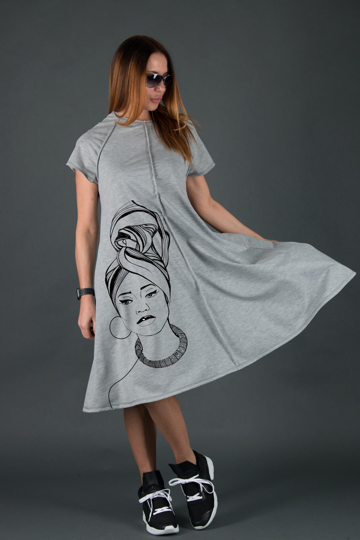 African Woman Grey Cotton Midi Dress, Dresses Spring & Summer