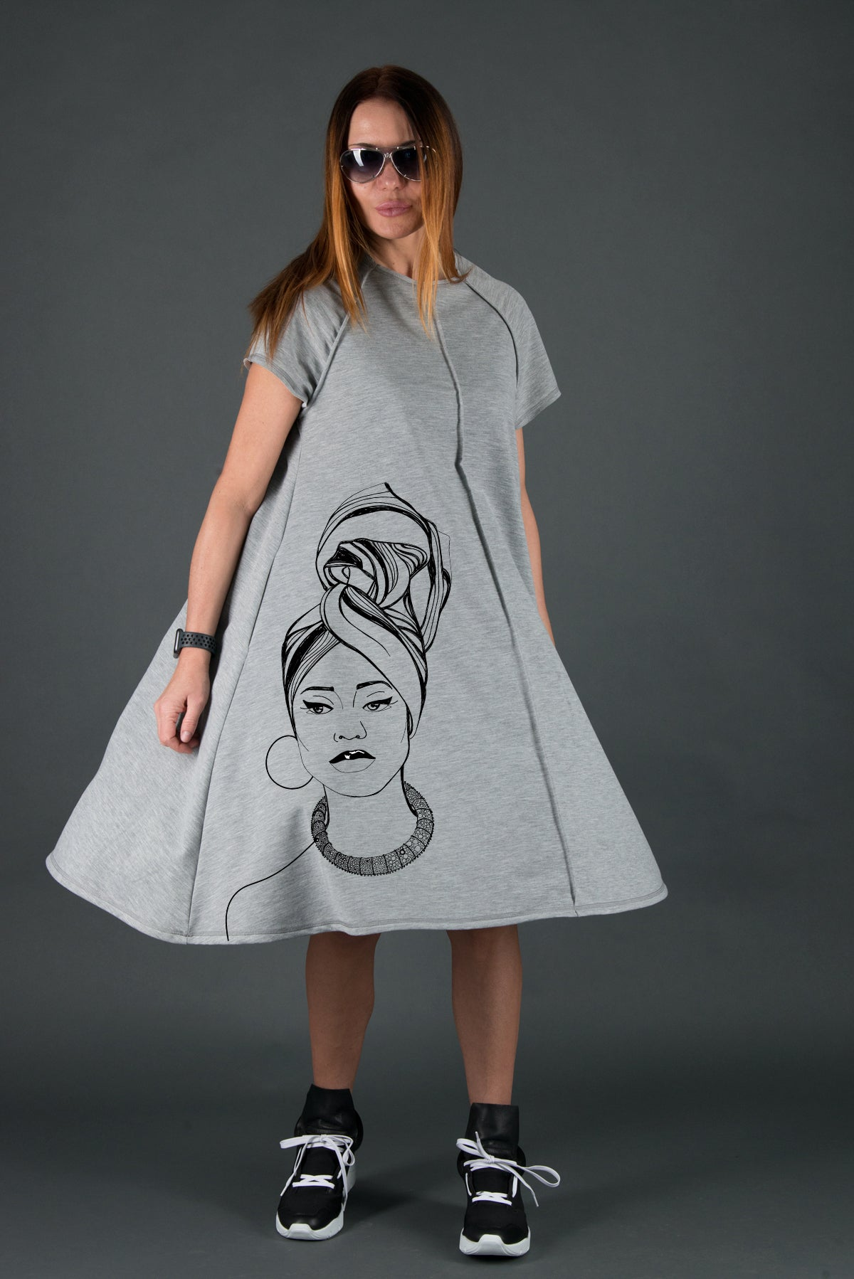 African Woman Grey Cotton Midi Dress - EUG FASHION
