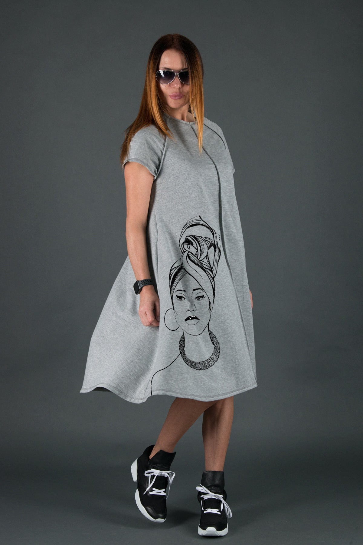 Spring Cotton Midi Dress, Summer grey Casual Printed Dress