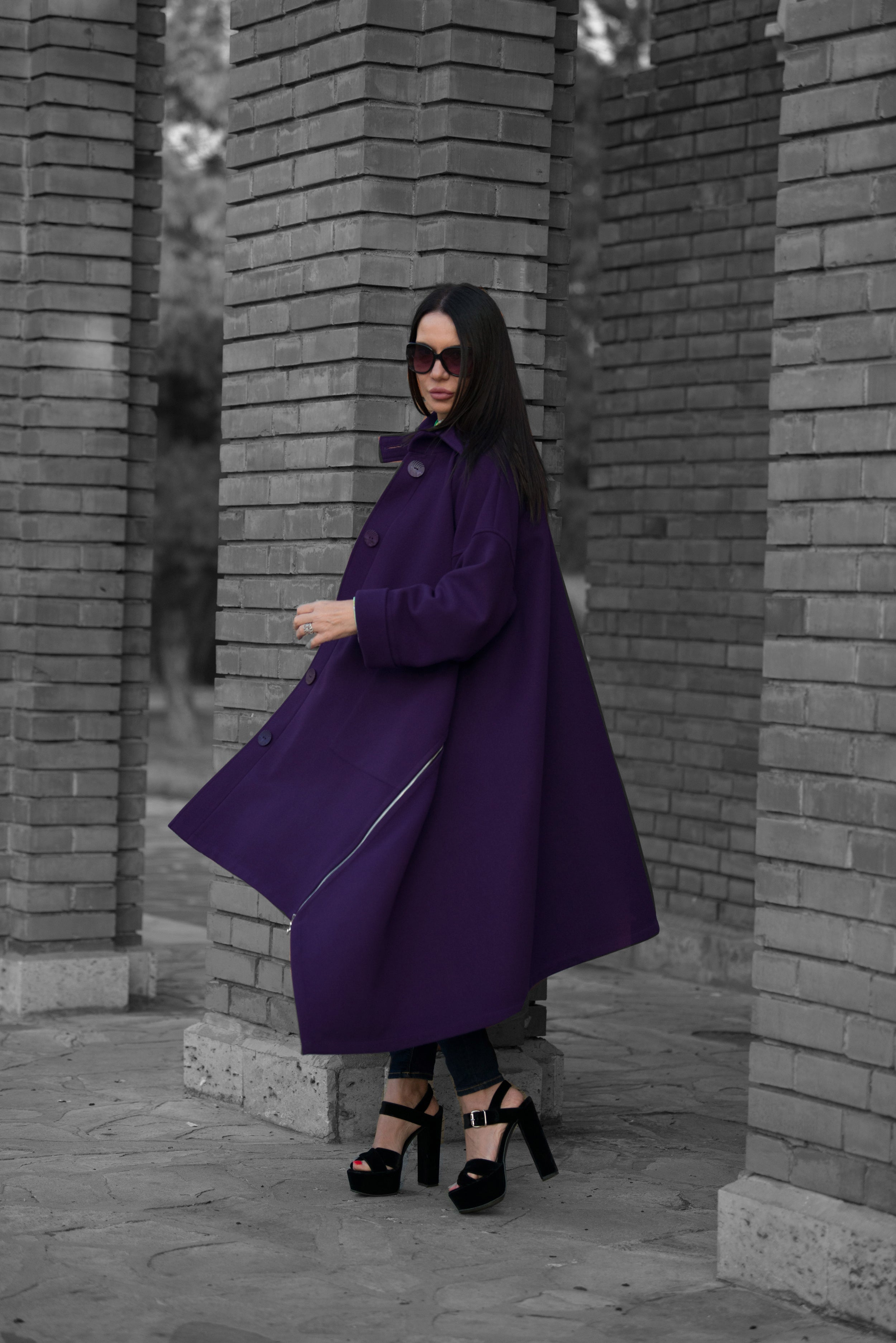 Purple Wool Women Coat