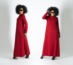 Long Dark Red Cotton dress