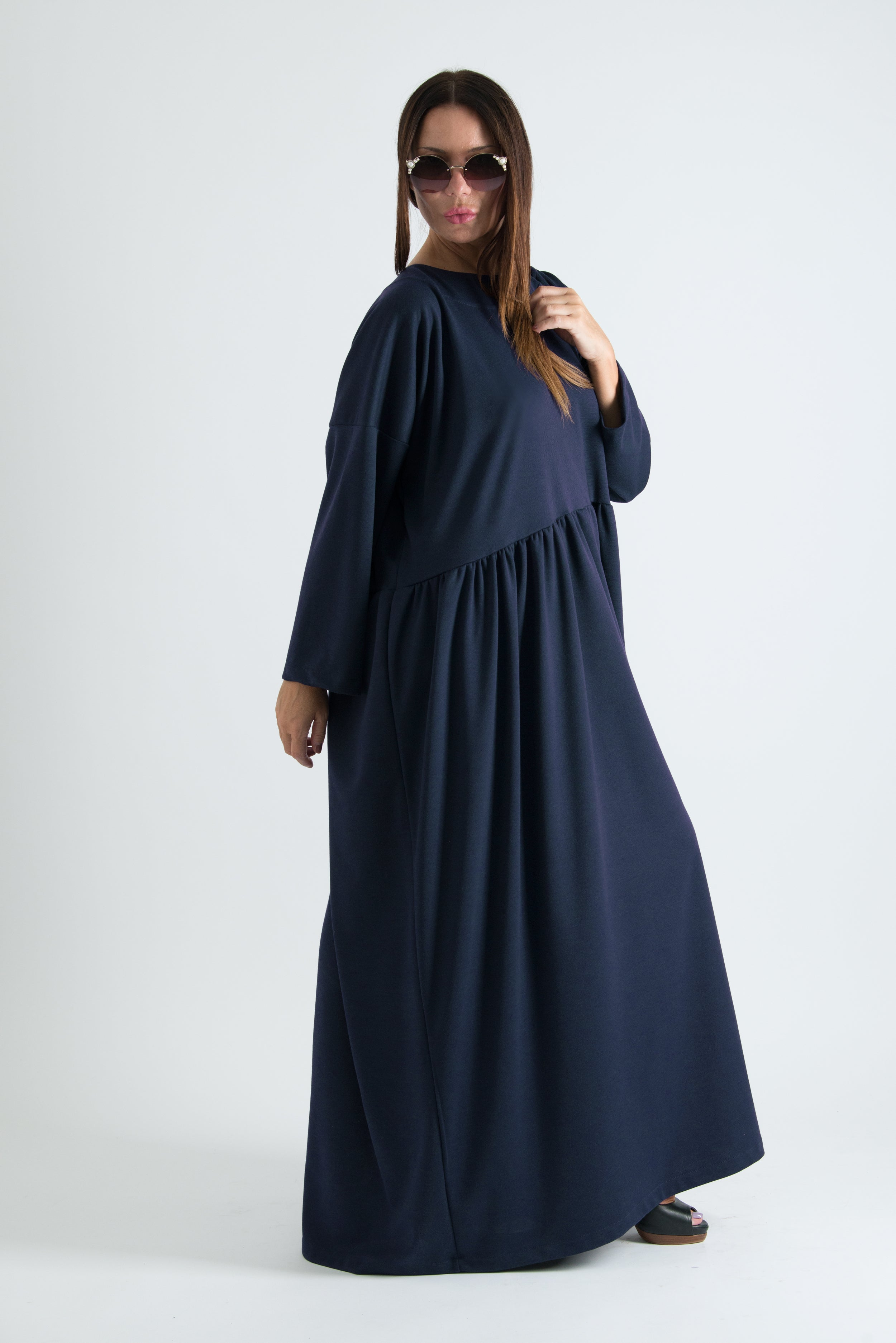 Autumn Winter Purple Plus size Maxi Dress, Dresses & Maxi Dresses