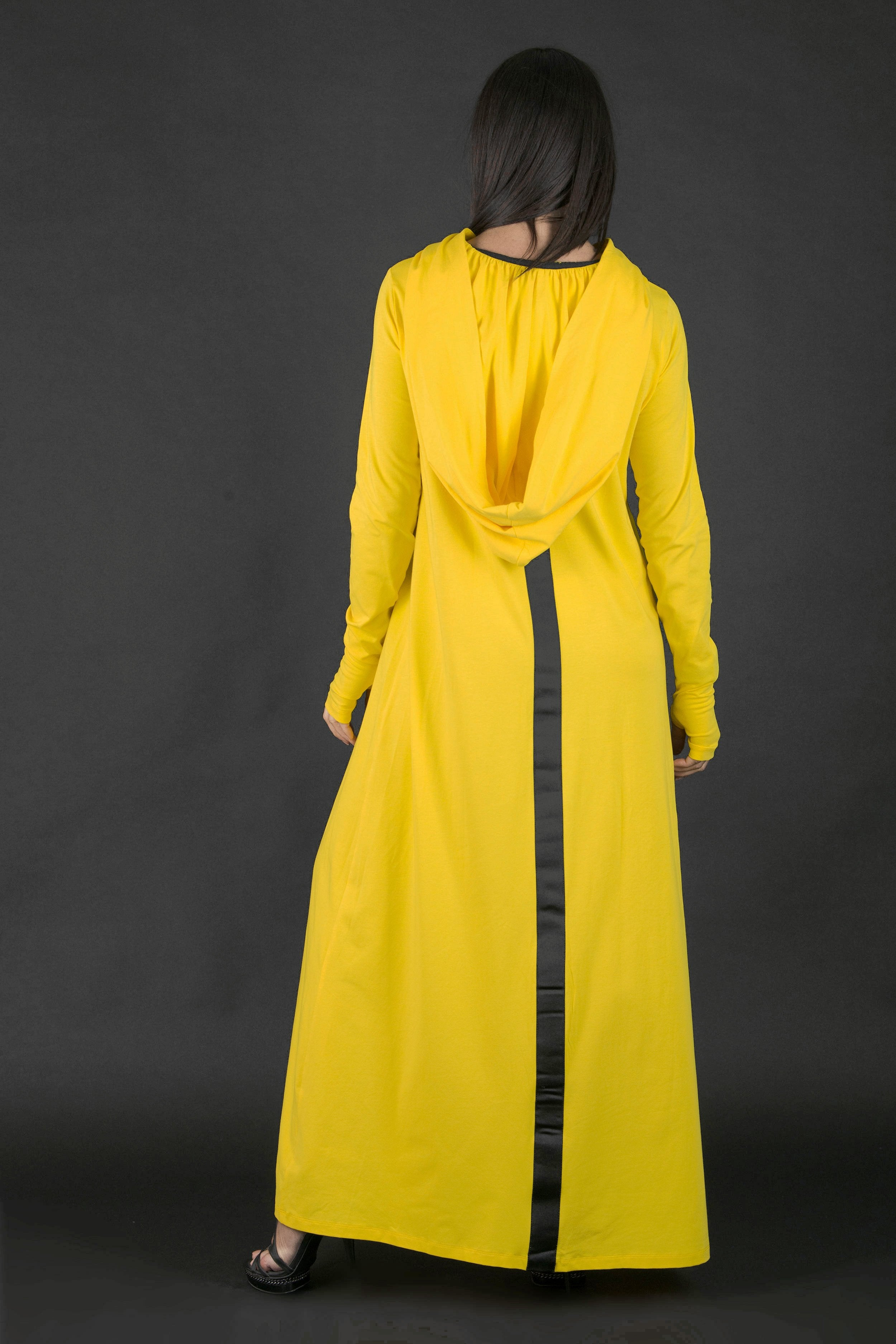 Yellow Hooded Long Dress with African Woman Print