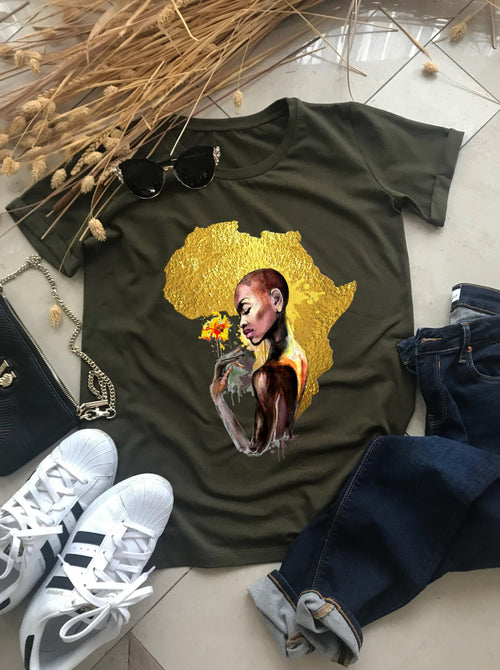 Copy of Gold African Woman tee - EUG FASHION