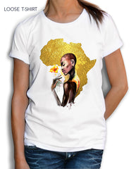 Gold African Woman tee - EUG FASHION