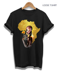 Gold African Woman tee, T-shirts