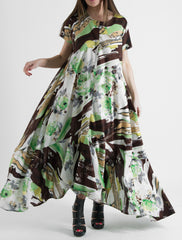 Green Melange Maxi Summer Cotton Dress, Dresses Spring & Summer