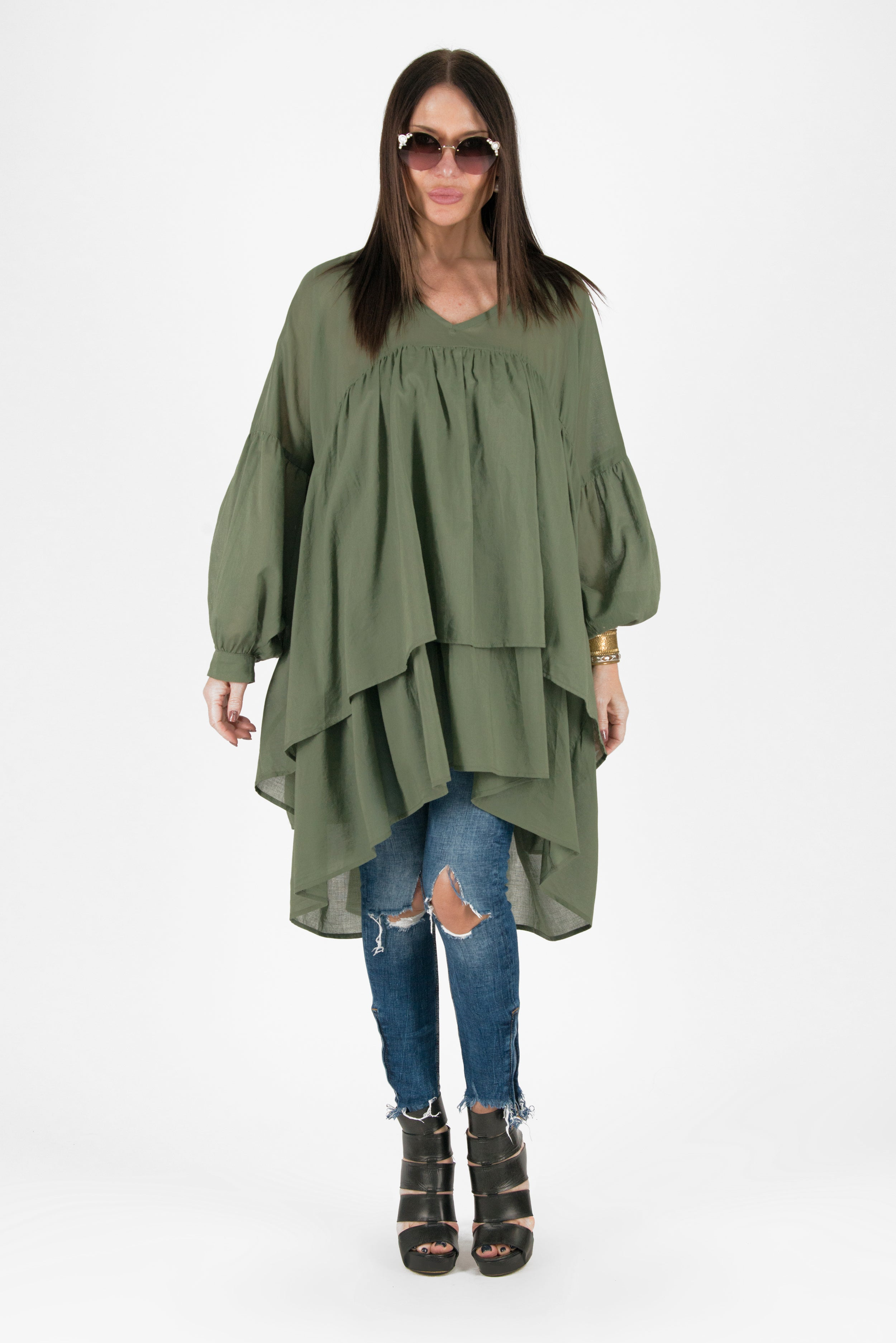 Military Green Asymmetric Flounces Top, Tops & Tunics