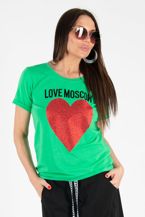 Green tshirt with print Love Moscow