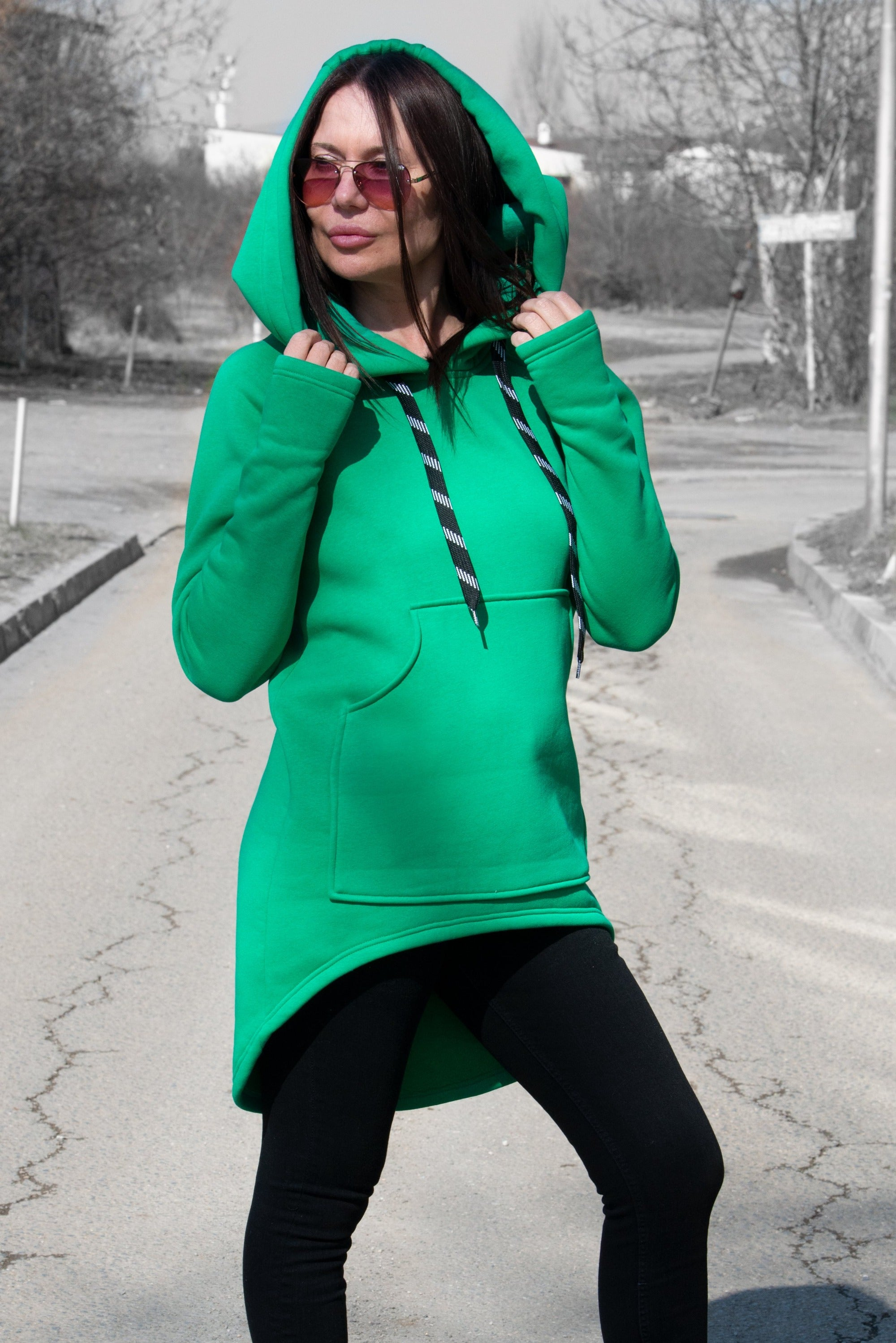 Green Hooded Sports Jacket
