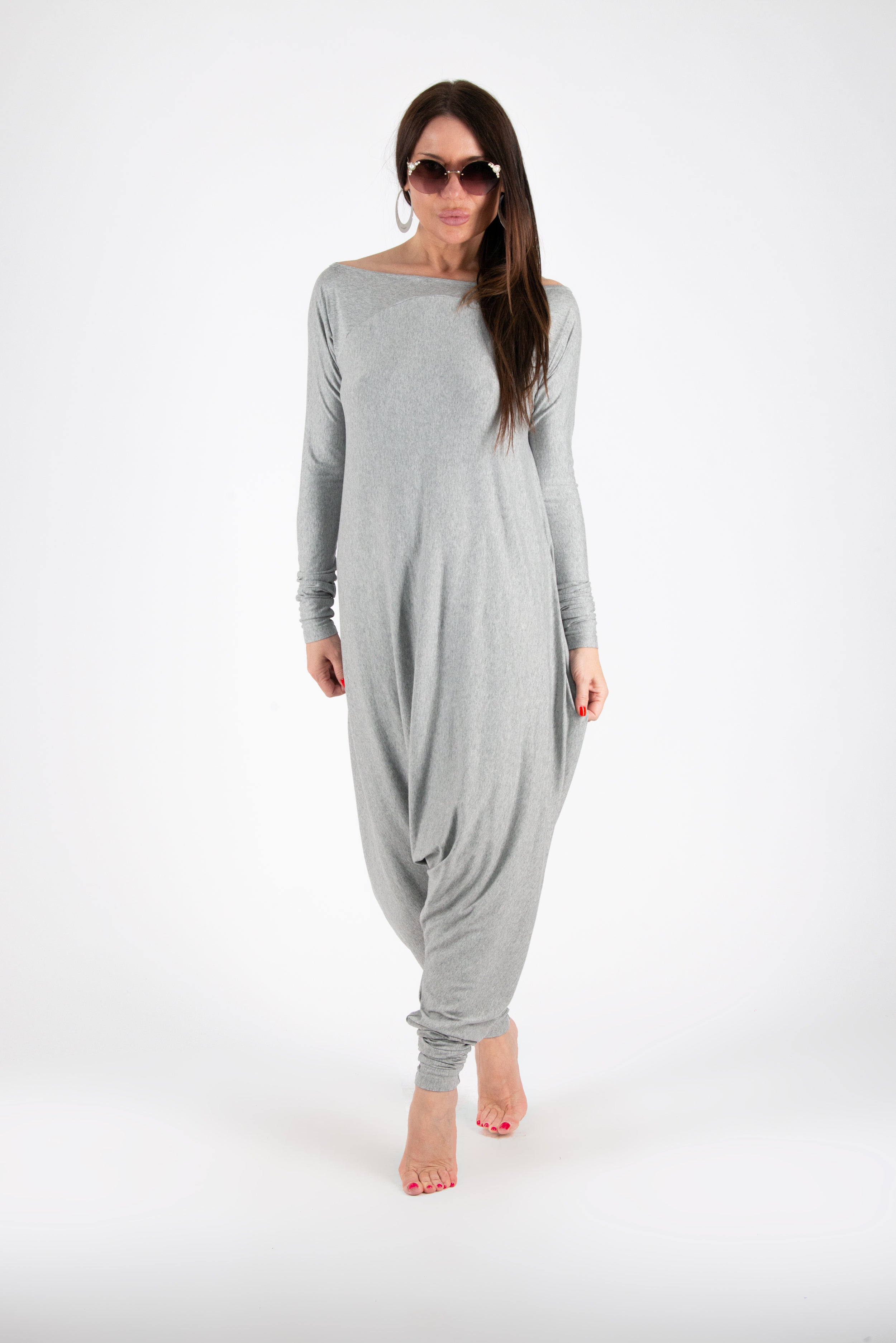Light Grey Summer Harem Jumpsuit, Jumpsuits & Rompers