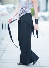 Harem pants, wide leg pant, Black Trousers