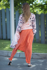 Loose pants, Orange Cotton Harem Pants, Drop Crotch Pant, Loose fit Trousers