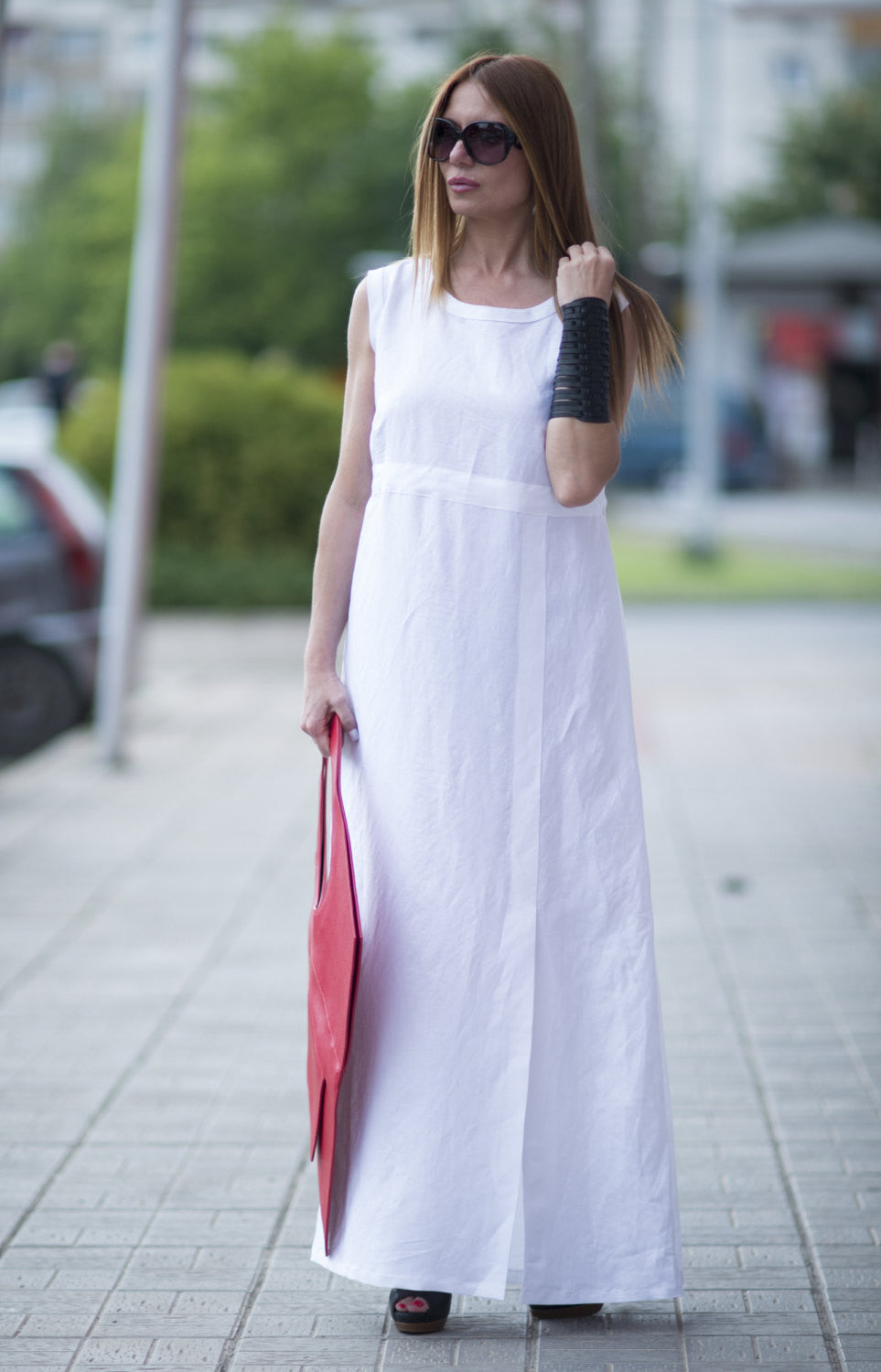 Summer Maxi Dress, White Kaftan, White Linen Dress, Long Dress