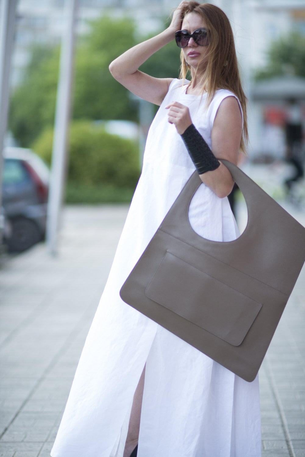 Tobacco Brown Leather Tote Bag, leather shoulder bag, Bags & Accessories