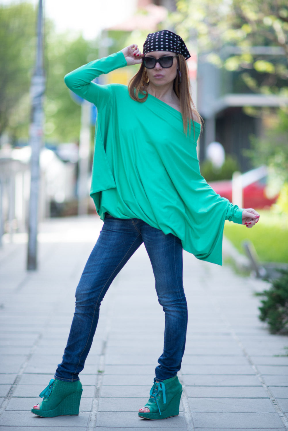 Off Shoulder Green Tunic, Oversize Twisted Tunic Top, Maxi Cotton Shirt