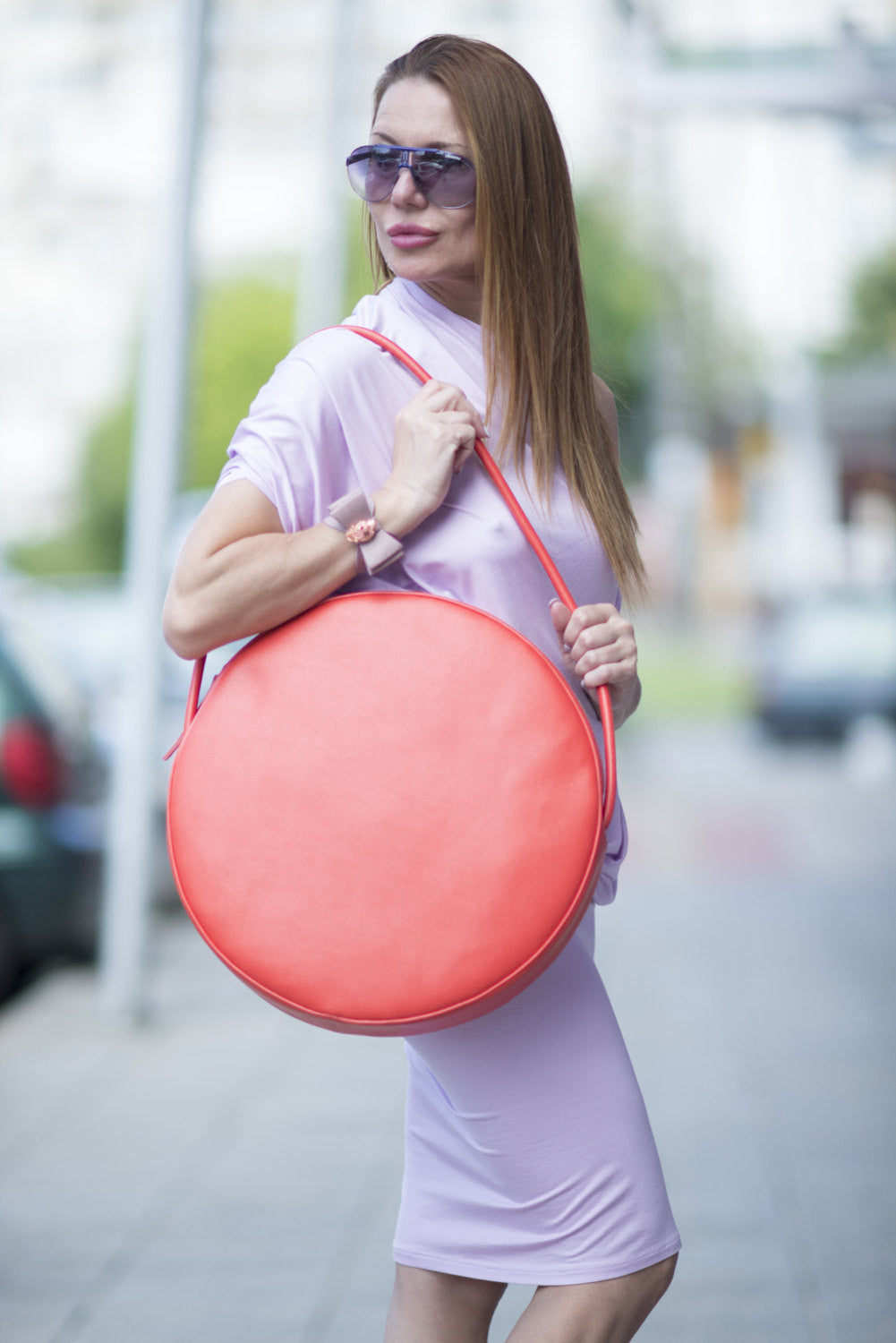 Leather Orange Bag, Tote Circle Bag, Genuine Leather Shoulder Tote, Bags & Accessories