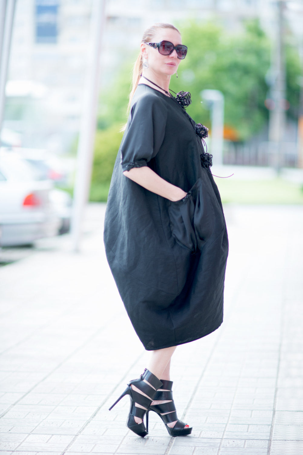 Black Oversized Linen Dress with Satin Pocket, Plus Size tunic