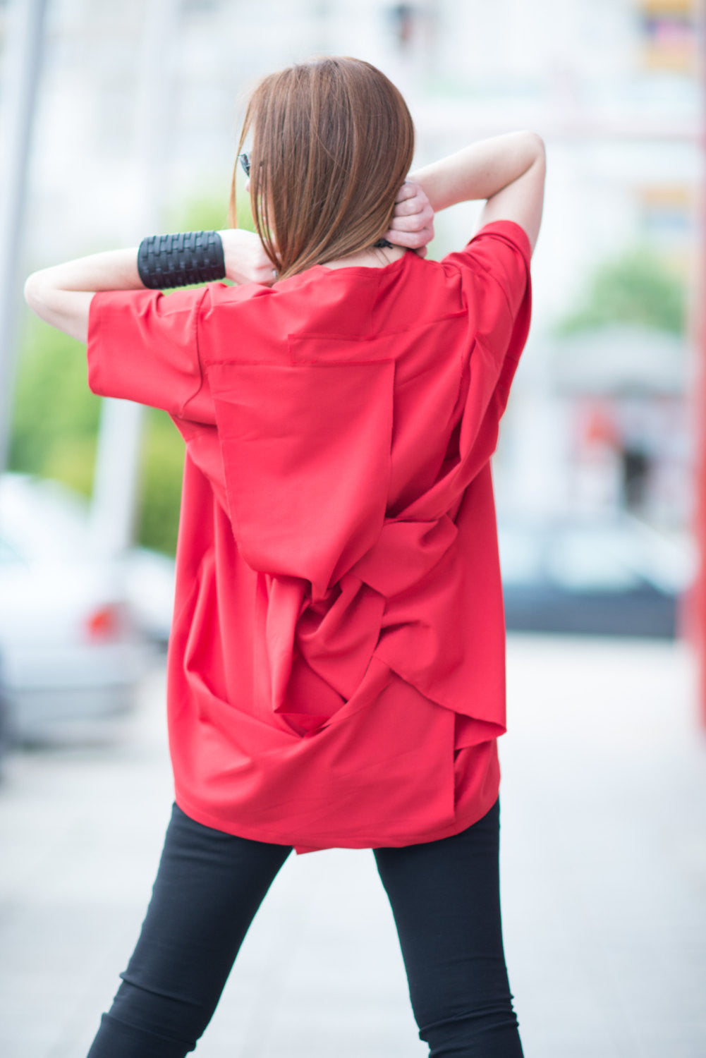 Red Plus Size Tunic, Red Top - EUG FASHION