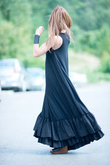 Plus Size Black Maxi Dress, Long Dress, Daywear Dress, Flounces Black Dress