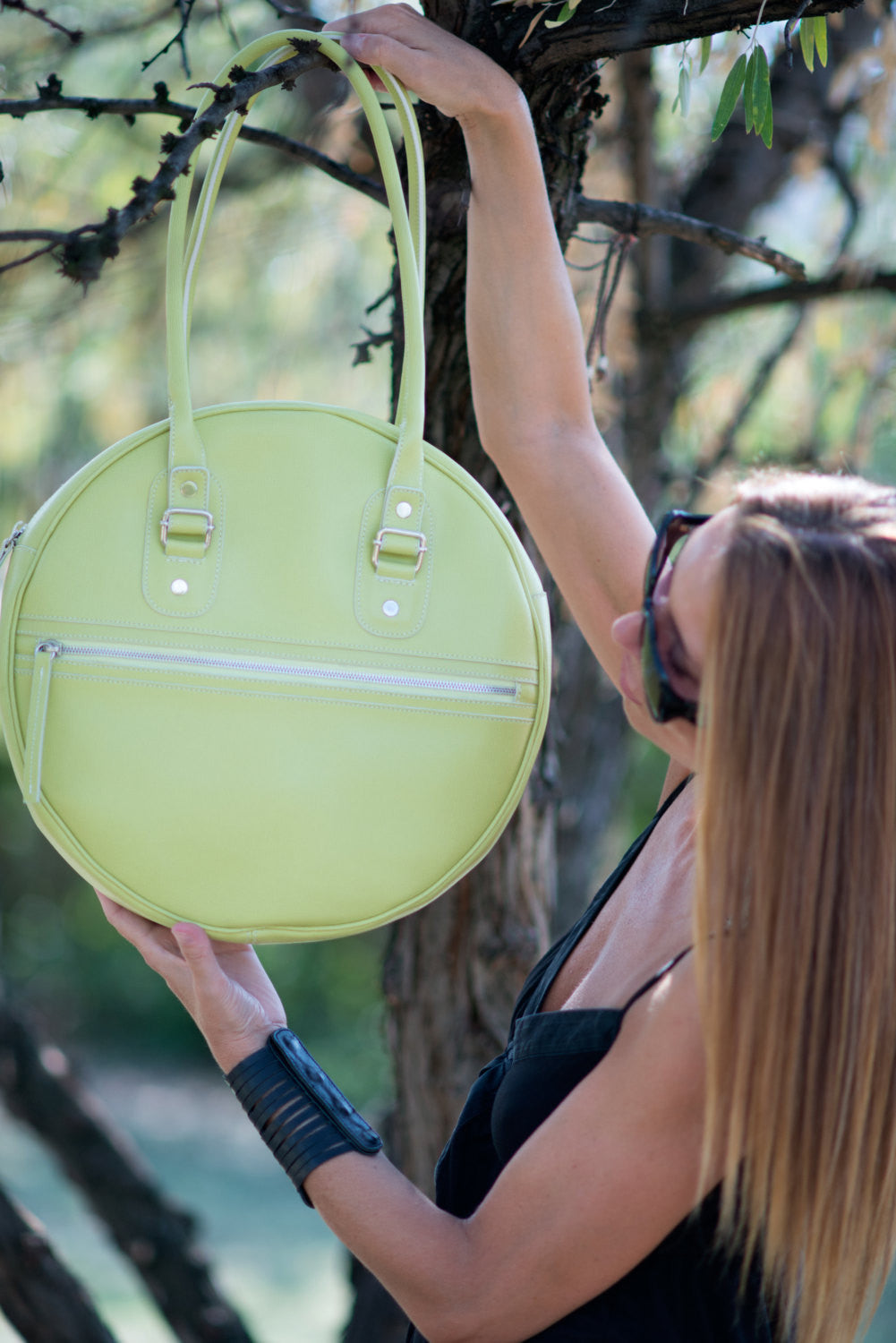 Lemon Green Leather Tote Bag, Leather Handbag, Bags & Accessories