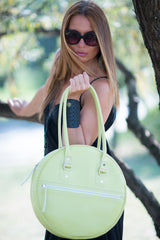 Lemon Green Leather Tote Bag, Leather Handbag