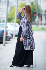 Loose Vest, Trendy plus size clothing, Shepherd's plaid Maxi Dress, Oversize dress, Pluse Size Dress