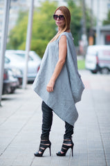 Light Grey Linen Top, Plus size Clothing, Casual Asymmetric Maxi Tunic, Plus size Tunic Dress