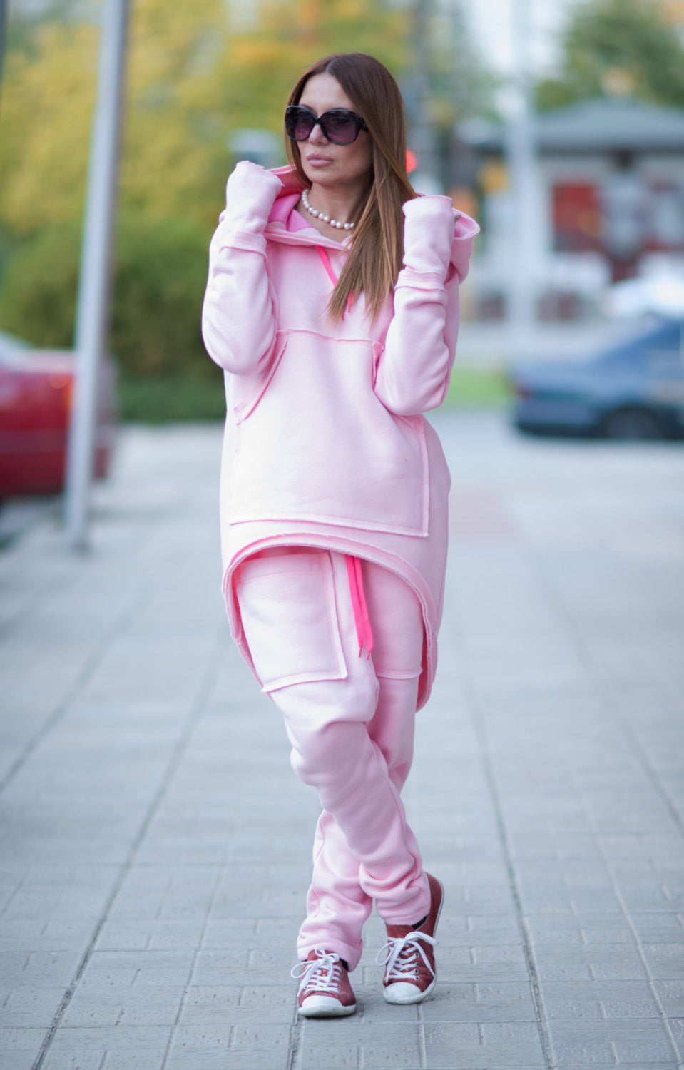 Pink Hooded Sports Sweatshirt, Pink Harem Pants and Top With Big Pockets