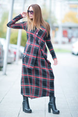 Long Scottish Plaid Dress, Long Sleeves Dress, Oversize Dress