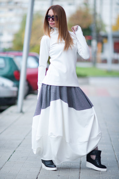 White Shepherd's Plaid Cotton Skirt, White and Black Wide Cotton Skirt, Loose Maxi Skirt