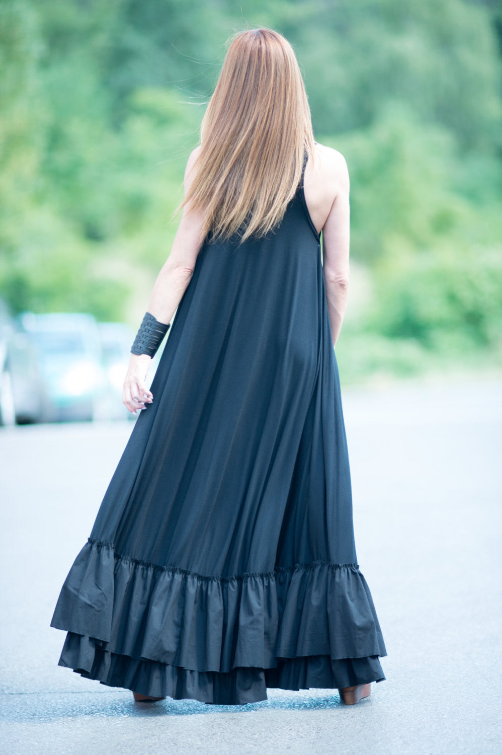 Jersey Black Maxi Flounces Dress - EUG FASHION