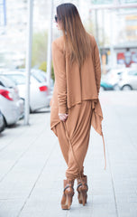 Oversized Dark Beige Cotton Knitting Top, Asymmetric Tunic, Long Sleeves Knitting Top