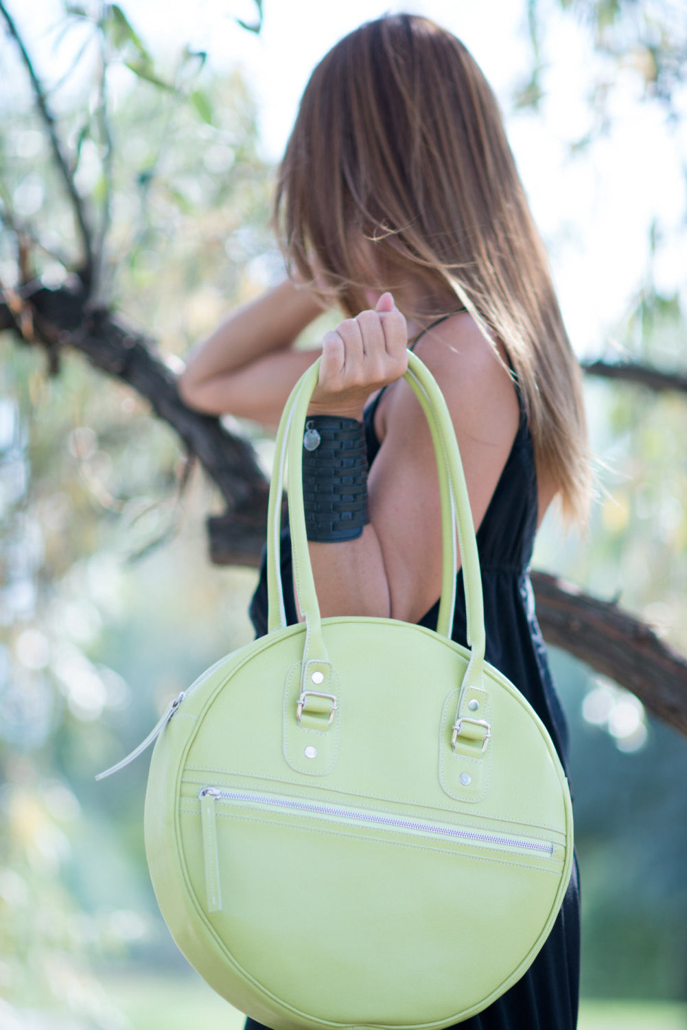 Lemon Green Leather Tote Bag, Leather Handbag, Leather satchel, Leather Hobo Bag, Leather Bucket Bag