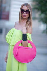 Clutch purse, Pink Genuine Leather Clutch Hand Bag