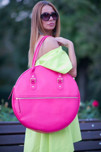 A Hand Made Leather Fuchsia Tote Circle Bag, Genuine Leather Bag