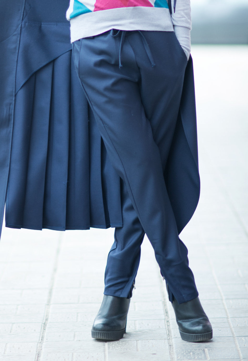 Navy Blue Drop Crotch Pants, Loose Casual Harem Pants, Sexy Stylish Cold Wool Pants with Pockets