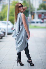 Light Grey Linen Maxi Tunic