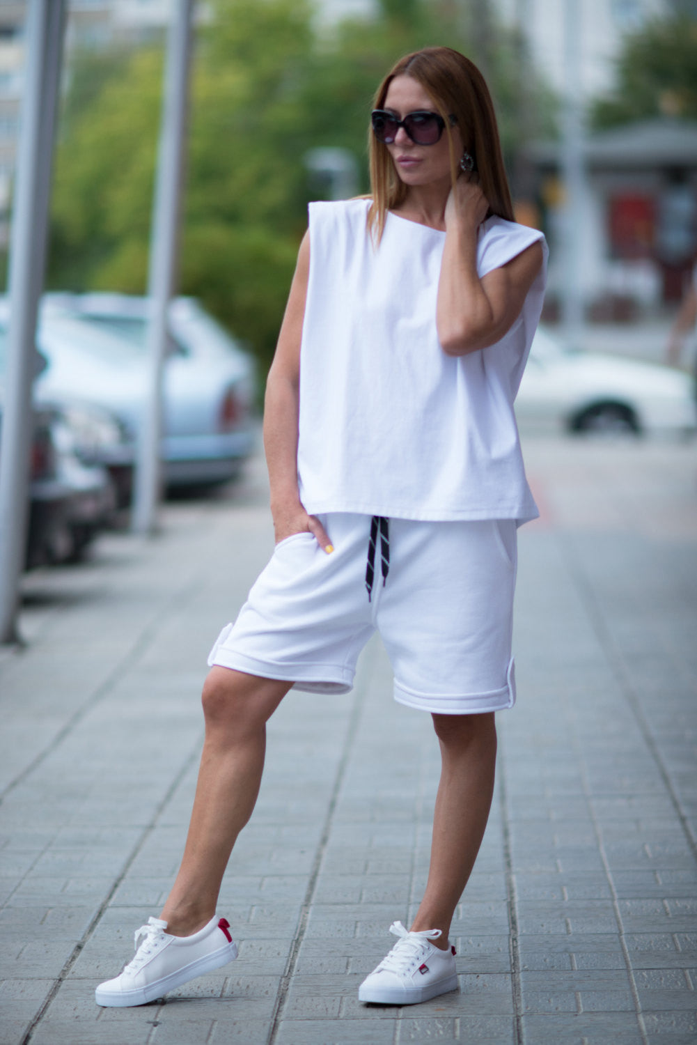 White Short Harem Pants, Autumn Loose Casual White Drop Crotch Pants, Warm Wadding Sarouel pants