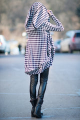 Sheperds Plaid Dress, Oversize Hooded Casual Top, Zipper Maxi Tunic, Hooded Tunic