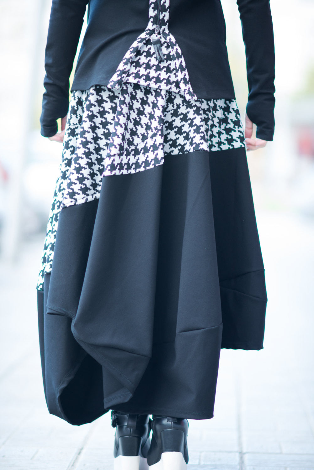 Black Shepherd's Plaid Cotton Skirt, Black and White Wide Cotton Skirt, Loose Maxi Skirt