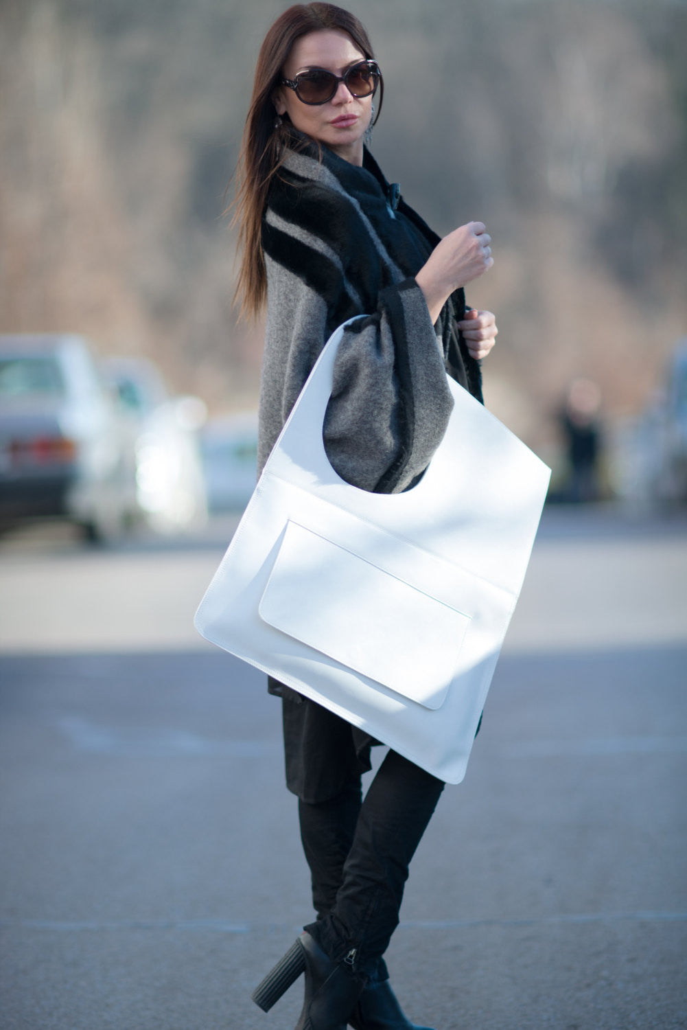 Leather Shoulder Bag, White Leather Tote, Leather Satchel