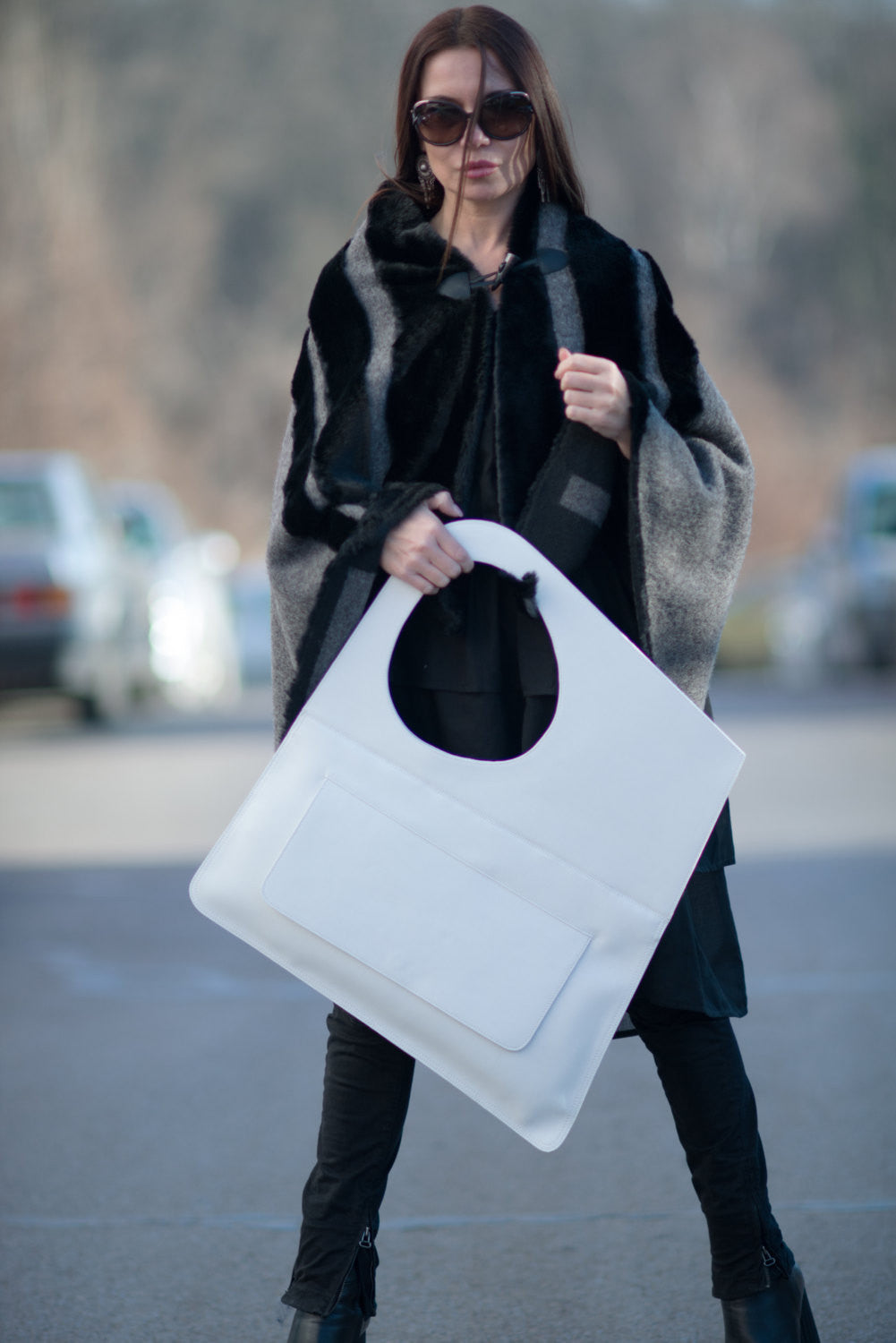 Leather Tote Bag, White Leather Tote, Bags & Accessories