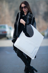 Leather Tote Bag, White Leather Tote